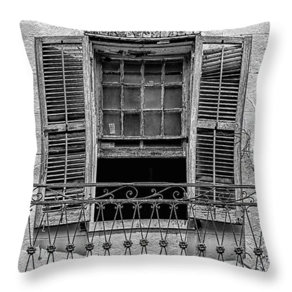 Worn Window - Bw Throw Pillow by Christopher Holmes