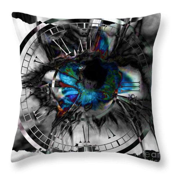 Worry The Clock Throw Pillow by Elizabeth McTaggart
