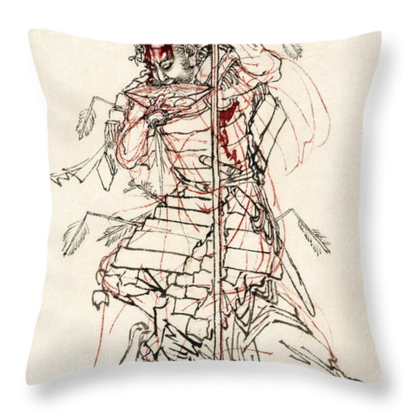 WOUNDED SAMURAI DRINKING SAKE c. 1870 Throw Pillow by Daniel Hagerman