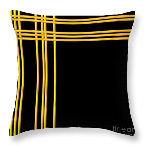 Woven 3d Look Golden Bars Abstract Throw Pillow by Rose Santuci-Sofranko