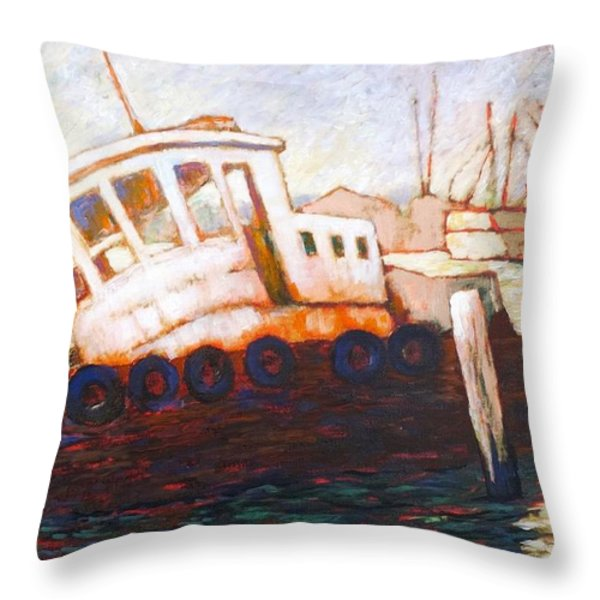 Wrecked Tug Throw Pillow by Charles Munn