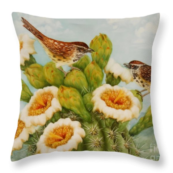 Wrens On Top Of Tucson Throw Pillow by Summer Celeste