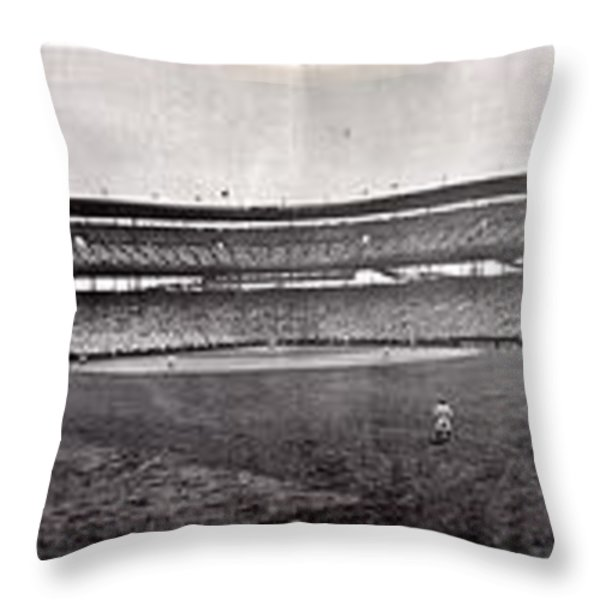 Wrigley Field 1929 Panorama Throw Pillow by Benjamin Yeager