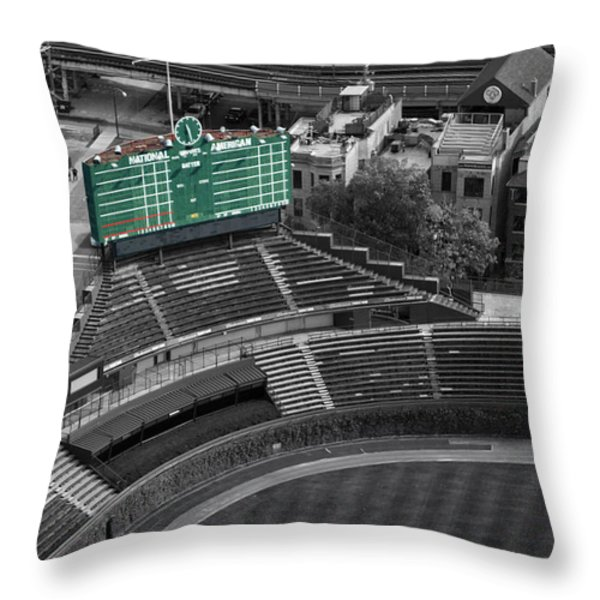 Wrigley Field Chicago Sports 04 Selective Coloring Throw Pillow by Thomas Woolworth