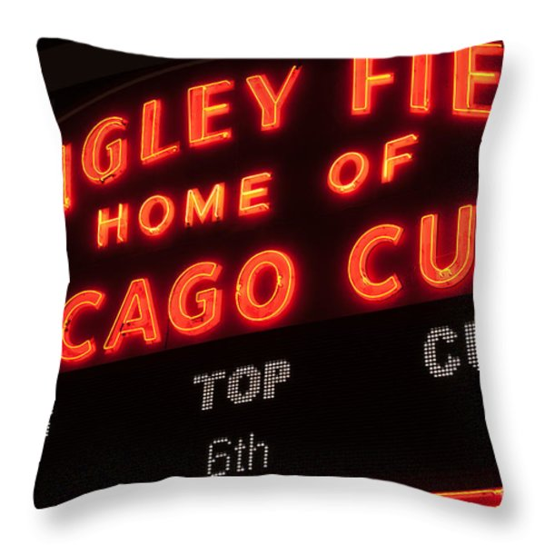 Wrigley Field Sign At Night Throw Pillow by Paul Velgos