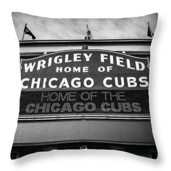 Wrigley Field Sign in Black and White Throw Pillow by Paul Velgos