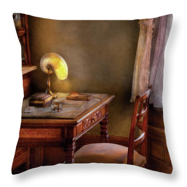 Writer - Desk of an Inventor Throw Pillow by Mike Savad