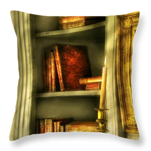 Writer - In the Library  Throw Pillow by Mike Savad