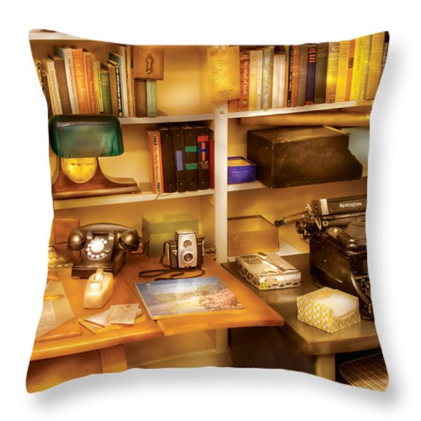 Writer - The Desk Of A Writer Throw Pillow by Mike Savad