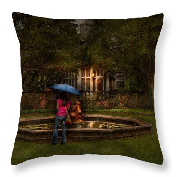 Writer - Wating For Him  Throw Pillow by Mike Savad