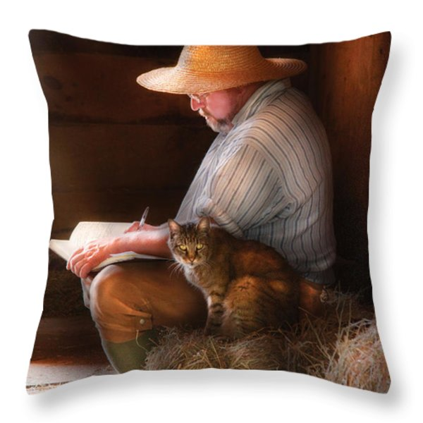 Writer - Writing In My Journal Throw Pillow by Mike Savad
