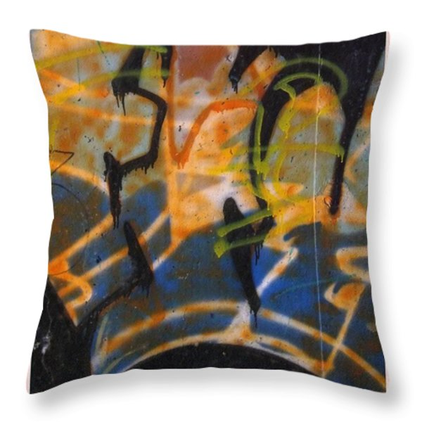 Writing On The Wall 3 Throw Pillow by Sara  Raber