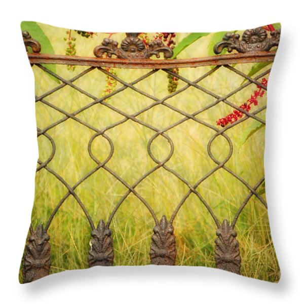 Wrought Iron With Red And Green Throw Pillow by Kathleen K Parker