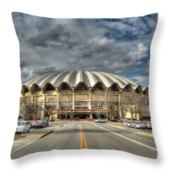 Wvu Basketball Coliseum Arena In Daylight Throw Pillow by Dan Friend