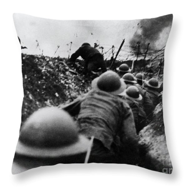 Wwi Over The Top Trench Warfare Throw Pillow by Photo Researchers