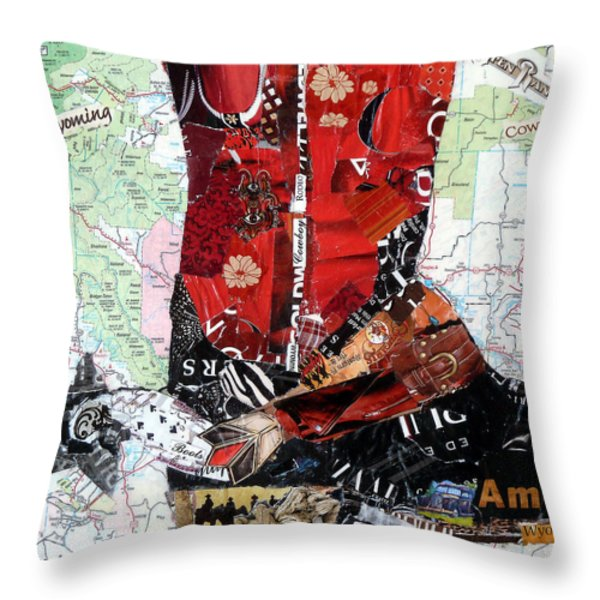 Wyoming Boot Throw Pillow by Suzy Pal Powell