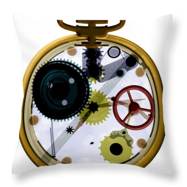 X-ray Of A Pocket Watch Throw Pillow by Bert Myers