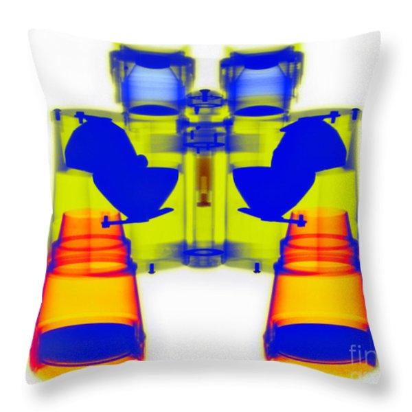 X-ray Of Binoculars Throw Pillow by Scott Camazine