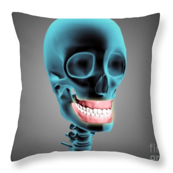 X-ray View Of Human Skeleton Showing Throw Pillow by Stocktrek Images
