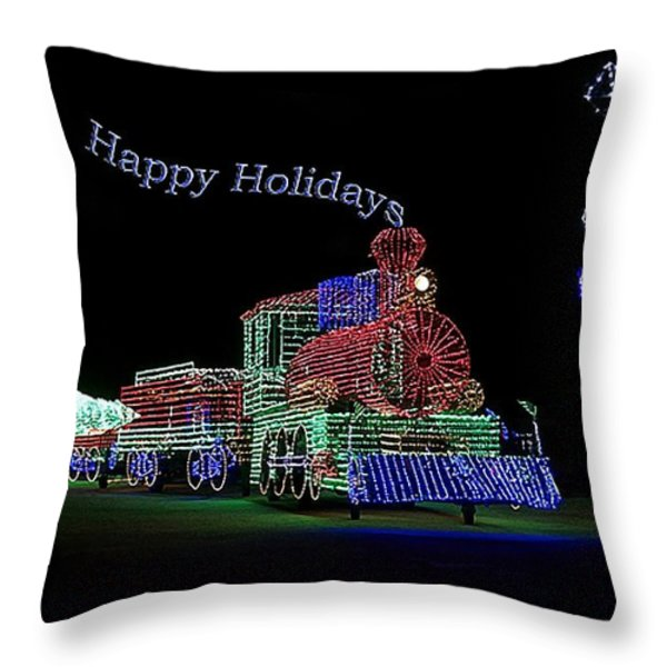 Xmas Tree Train Happy Holidays Throw Pillow by Thomas Woolworth