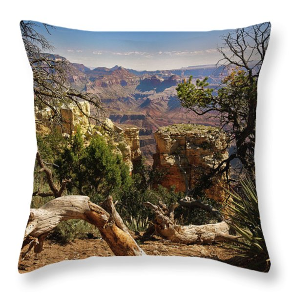 Yaki Point 4 The Grand Canyon Throw Pillow by Bob and Nadine Johnston