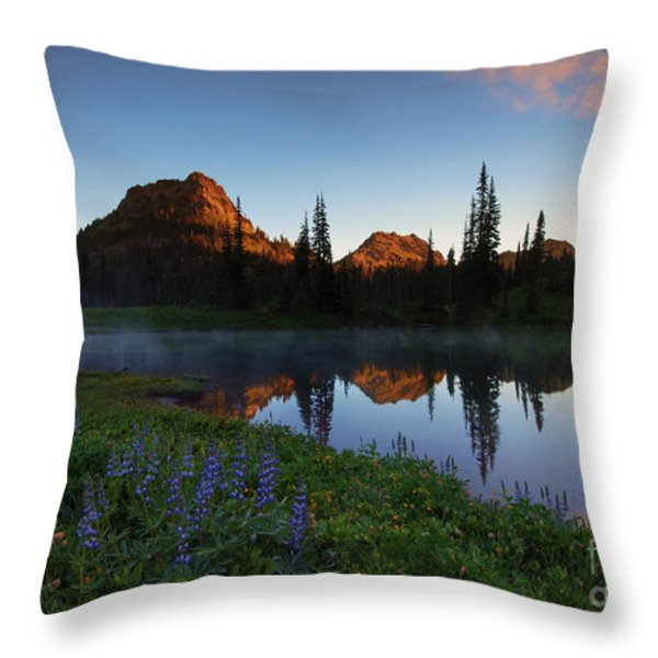 Yakima Peak Sunrise Throw Pillow by Mike  Dawson