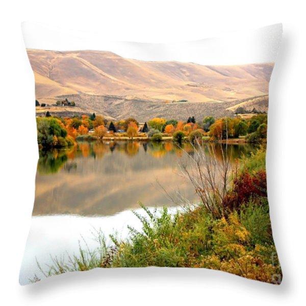 Yakima River Autumn Throw Pillow by Carol Groenen
