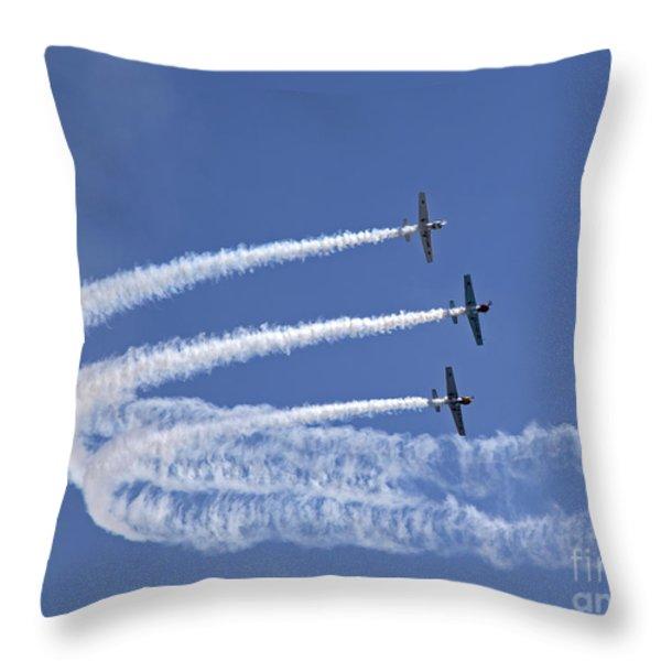 Yaks aerobatics team Throw Pillow by Jane Rix