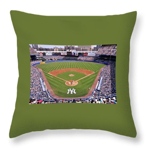 Yankee Stadium Throw Pillow by Allen Beatty