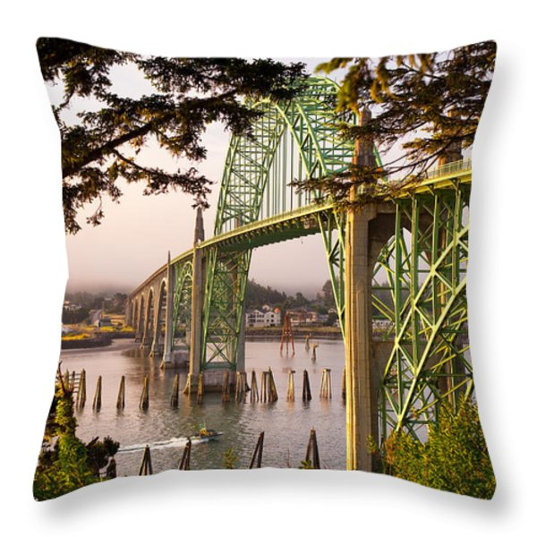 Yaquina Bay Bridge Morning Light Throw Pillow by Darren  White