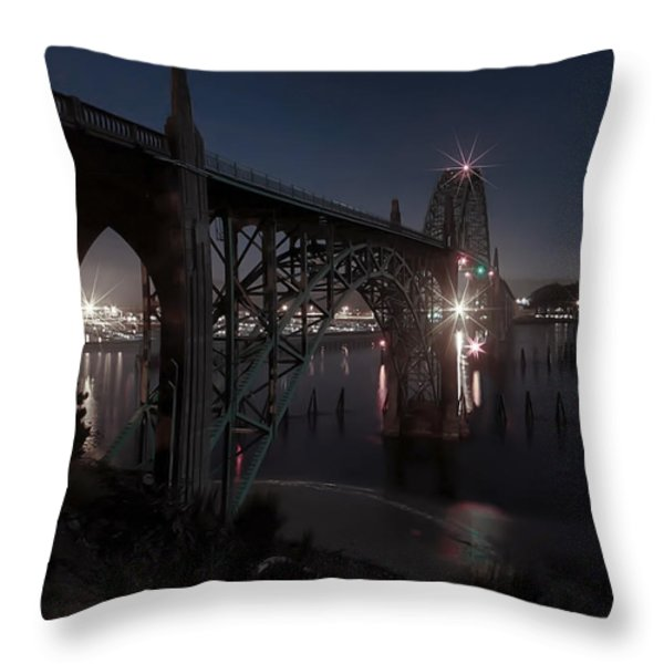 Yaquina Bay Bridge - Newport Oregon Throw Pillow by Daniel Hagerman