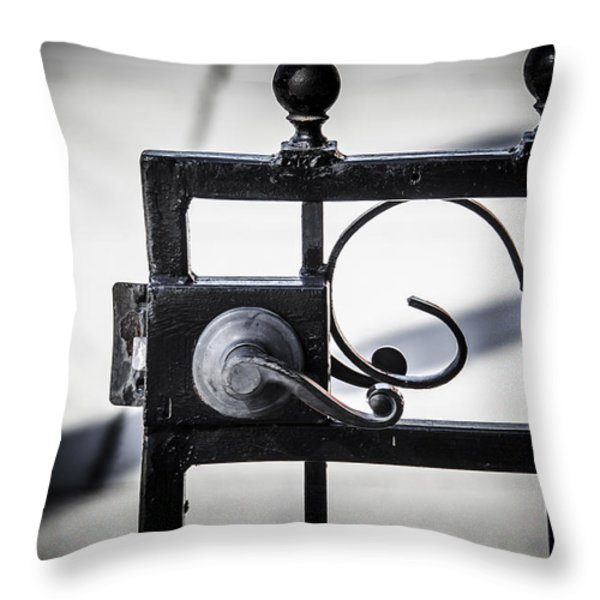 Ybor City Gate Throw Pillow by Carolyn Marshall