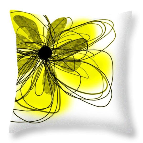 Yellow Abstract Flower Art  Throw Pillow by Ann Powell
