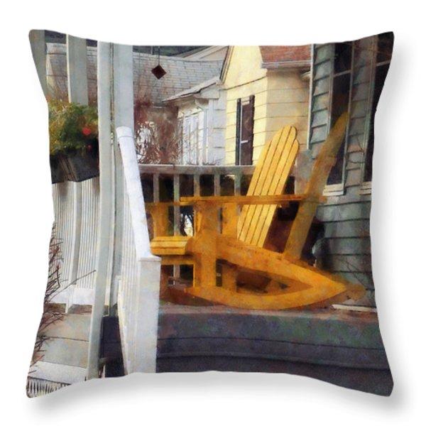 Yellow Adirondack Rocking Chairs Throw Pillow by Susan Savad