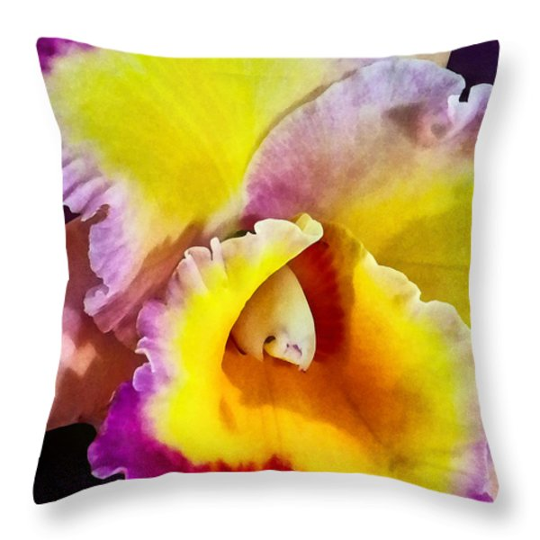 Yellow And Magenta Cattleya Orchid Throw Pillow by Susan Savad