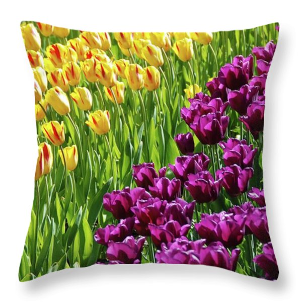 Yellow and Purple Tulips Throw Pillow by Allen Beatty
