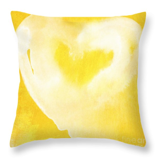 Yellow and White Love Throw Pillow by Linda Woods