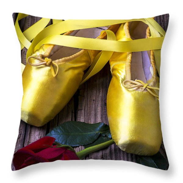 Yellow Ballet Shoes Throw Pillow by Garry Gay