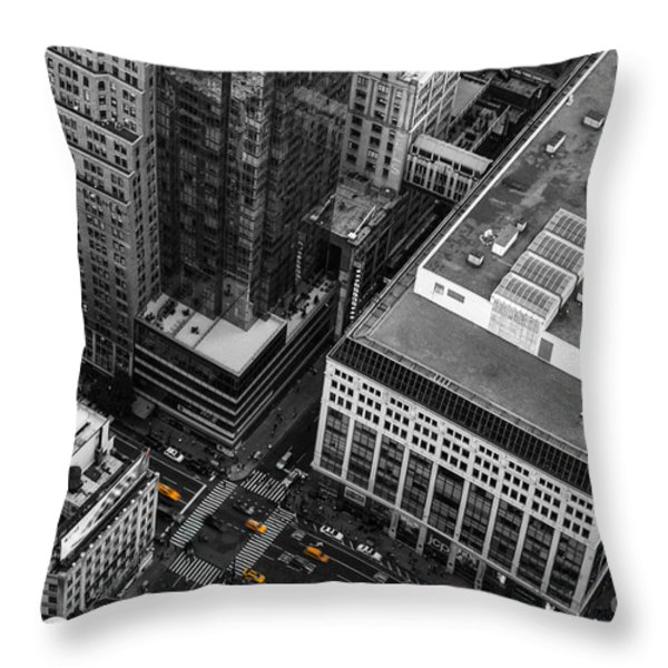 Yellow Cabs - Bird's Eye View Throw Pillow by Hannes Cmarits