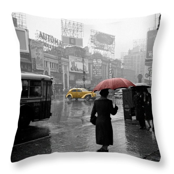 Yellow Cabs New York 2 Throw Pillow by Andrew Fare