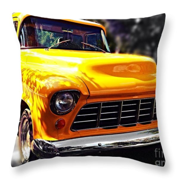 Yellow Chevy Throw Pillow by Garren Zanker