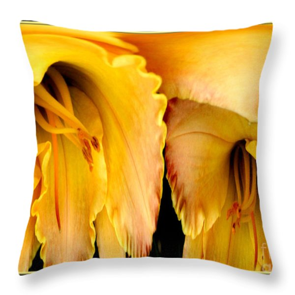 Yellow Daylily Abstract Throw Pillow by Rose Santuci-Sofranko