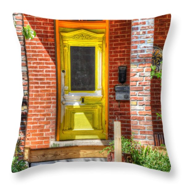 Yellow Door Throw Pillow by Liane Wright