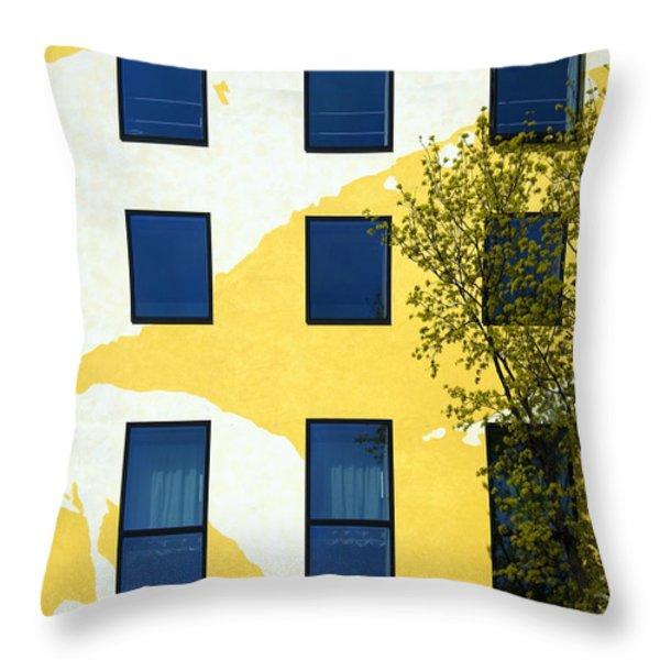 Yellow facade in Berlin Throw Pillow by RicardMN Photography