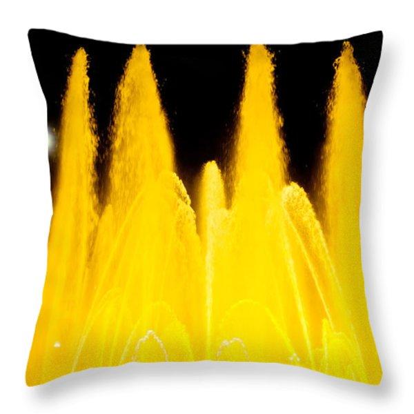 Yellow Fountain At Night Throw Pillow by Raimond Klavins
