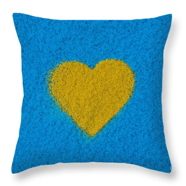 Yellow Heart Throw Pillow by Tim Gainey