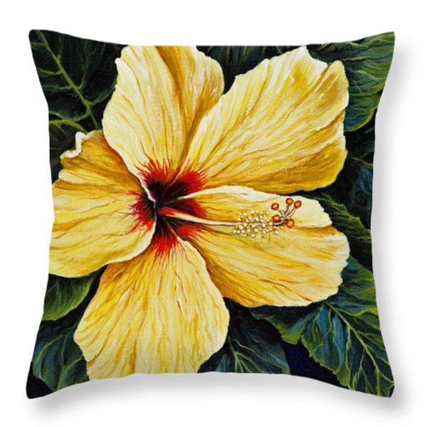 Yellow Hibiscus Throw Pillow by Darice Machel McGuire