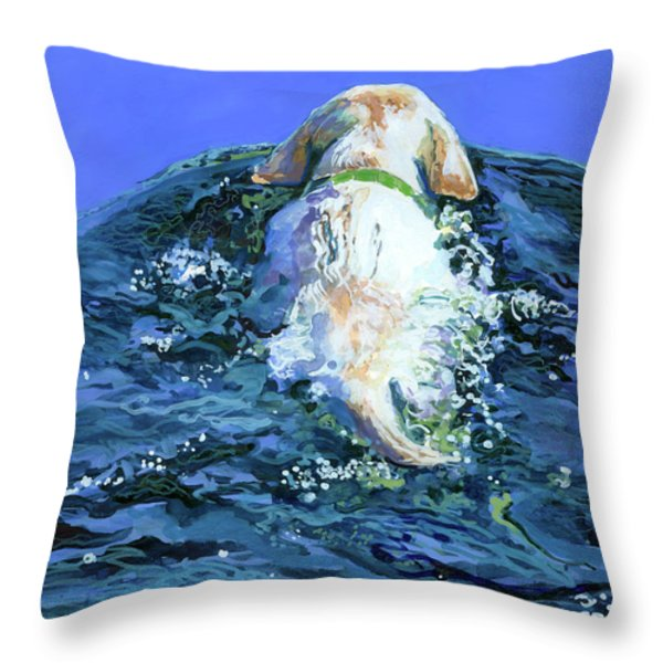 Yellow Lab  Blue Wake Throw Pillow by Molly Poole