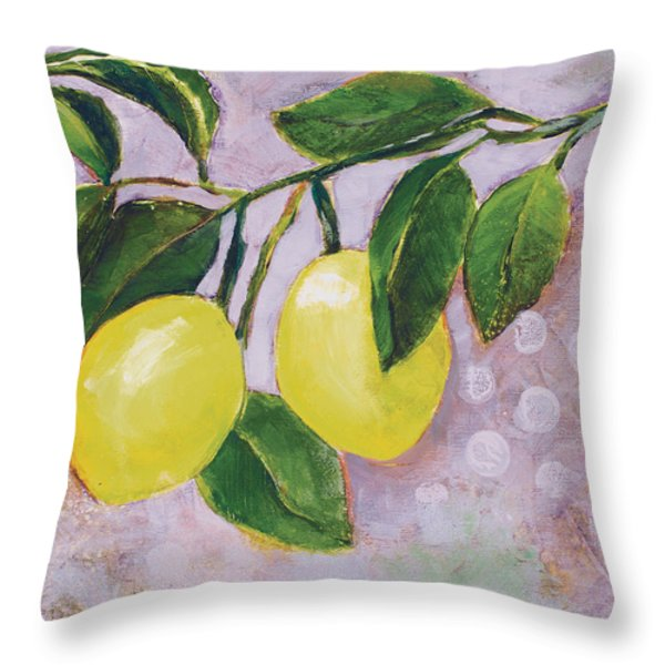 Yellow Lemons on Purple Orchid Throw Pillow by Jen Norton