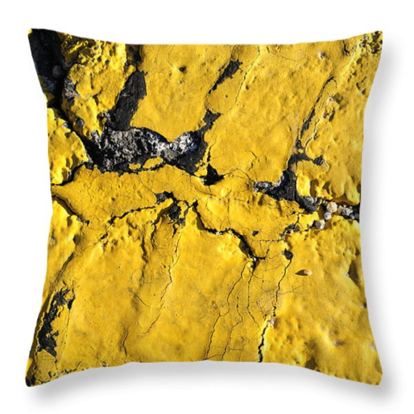 Yellow Line Abstract Throw Pillow by Luke Moore
